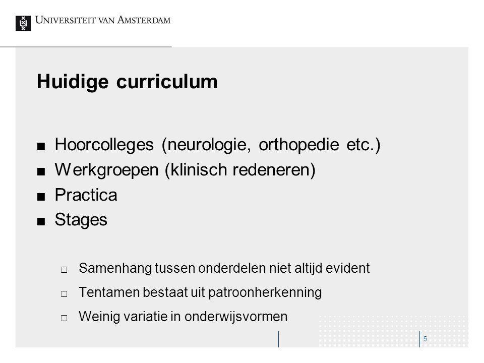 Huidige curriculum Hoorcolleges (neurologie, orthopedie etc.) Werkgroepen (klinisch redeneren) Practica Stages  Samenhang tussen onderdelen niet alti