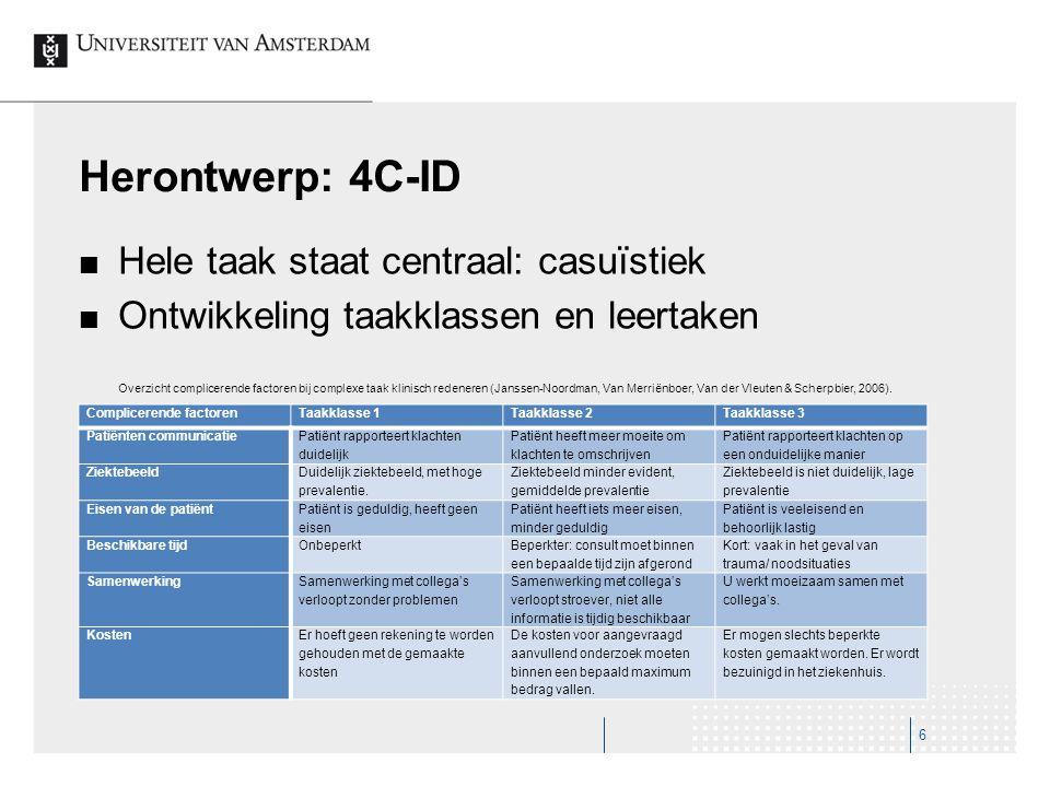 Herontwerp: 4C-ID Hele taak staat centraal: casuïstiek Ontwikkeling taakklassen en leertaken Overzicht complicerende factoren bij complexe taak klinis