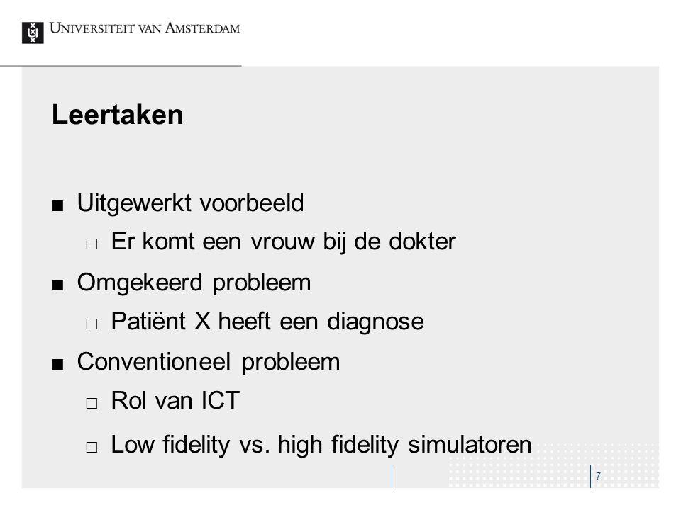 Leertaken Uitgewerkt voorbeeld  Er komt een vrouw bij de dokter Omgekeerd probleem  Patiënt X heeft een diagnose Conventioneel probleem  Rol van IC