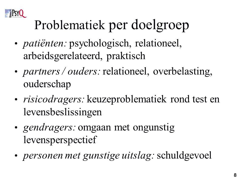 8 Problematiek per doelgroep patiënten: psychologisch, relationeel, arbeidsgerelateerd, praktisch partners / ouders: relationeel, overbelasting, ouder