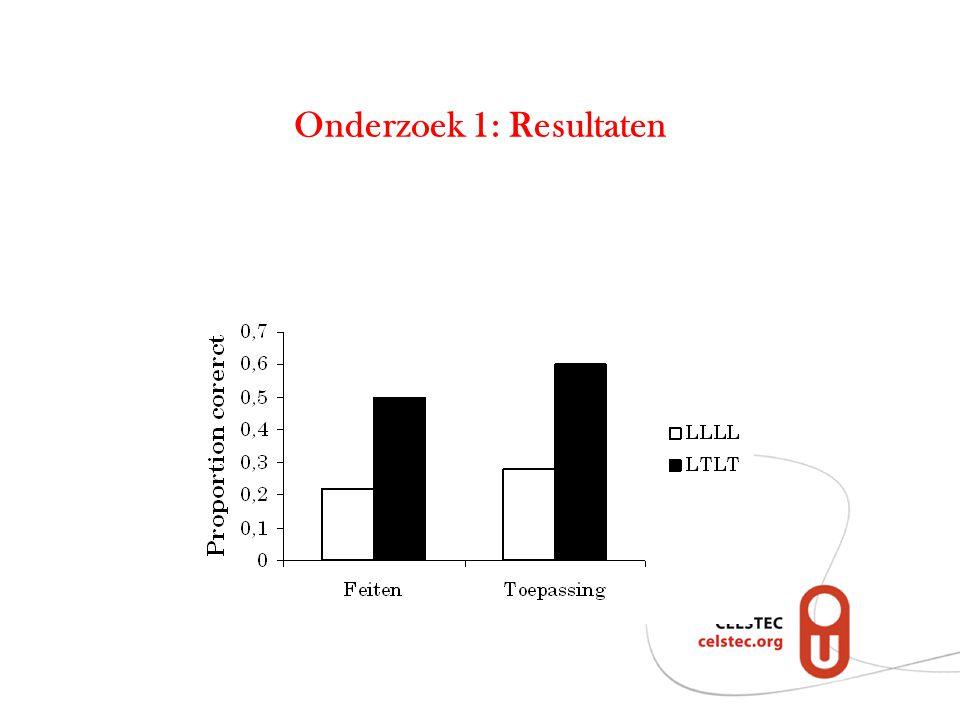 Onderzoek 2.1 Onderzoeksvraag: Leidt tussentijds toetsen niet alleen tot het beter maken van identieke toepassingsvragen, maar heeft het ook effect op nieuwe toepassingsvragen.