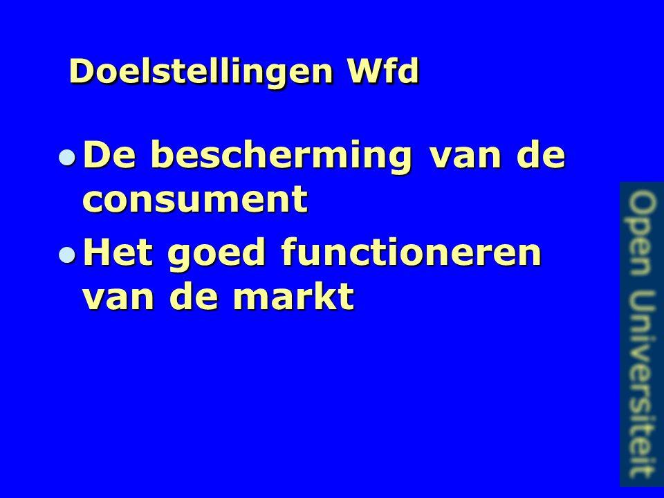 Doelstellingen Wfd De bescherming van de consument De bescherming van de consument Het goed functioneren van de markt Het goed functioneren van de markt