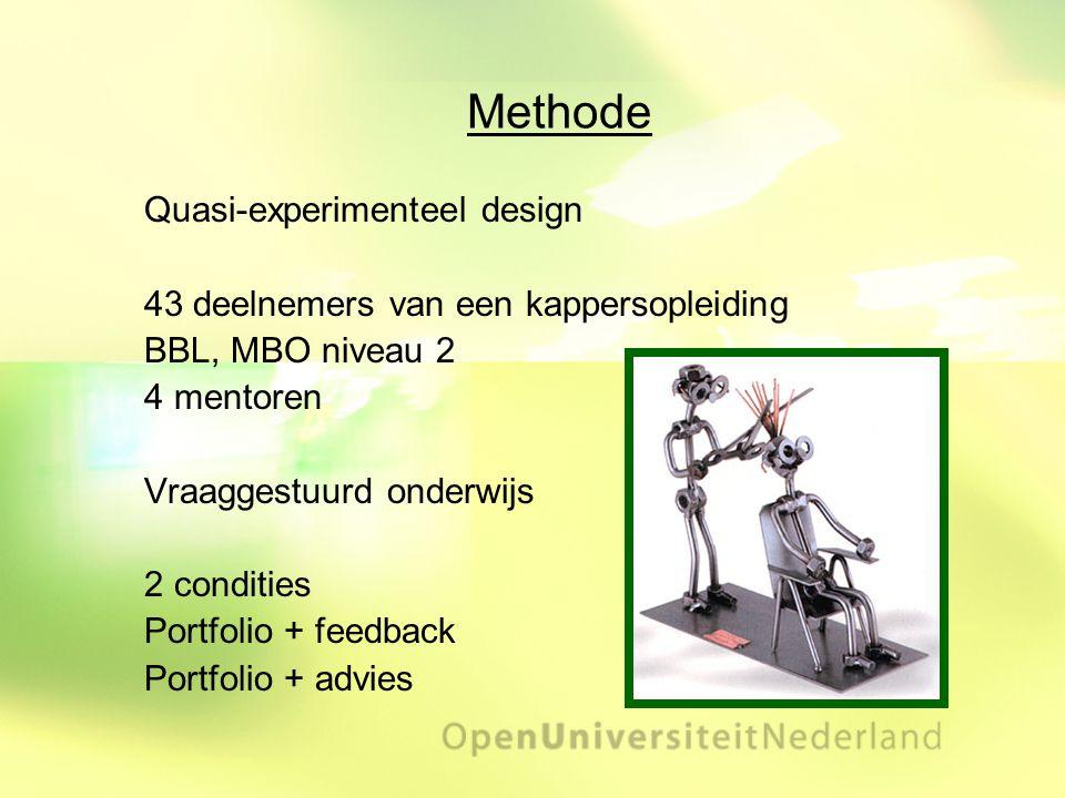 Methode Quasi-experimenteel design 43 deelnemers van een kappersopleiding BBL, MBO niveau 2 4 mentoren Vraaggestuurd onderwijs 2 condities Portfolio +