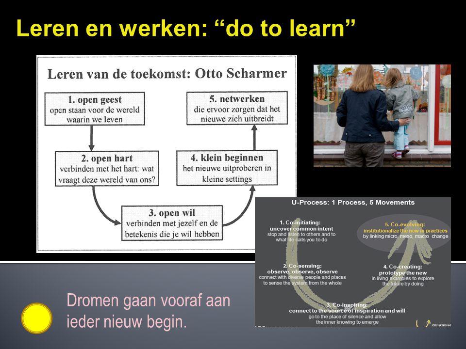 """Leren en werken: """"do to learn"""" Dromen gaan vooraf aan ieder nieuw begin."""