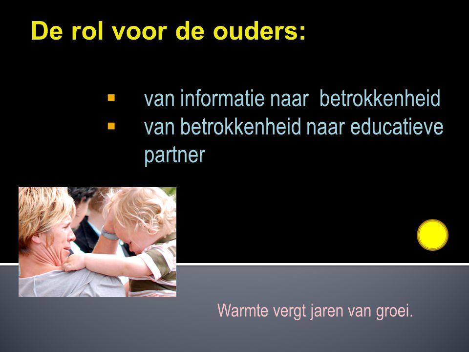De rol voor de ouders:  van informatie naar betrokkenheid  van betrokkenheid naar educatieve partner Warmte vergt jaren van groei.