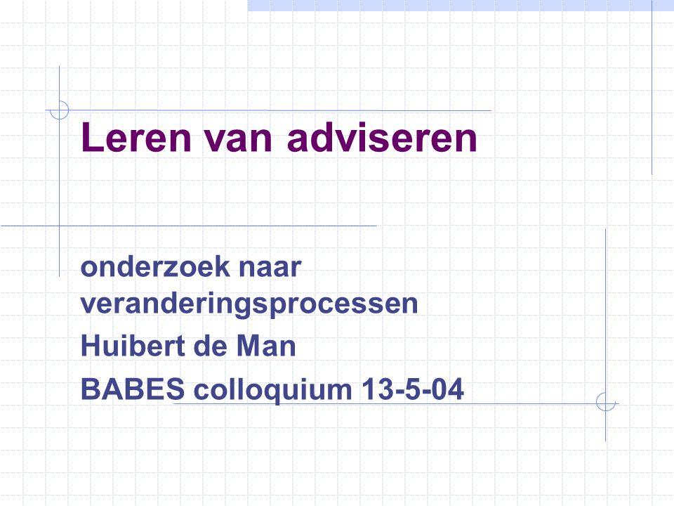 onderzoek naar veranderingsprocessen Huibert de Man BABES colloquium 13-5-04 Leren van adviseren