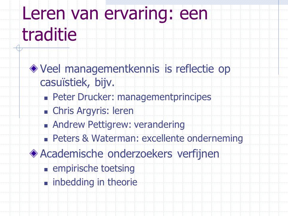 Leren van ervaring: een traditie Veel managementkennis is reflectie op casuïstiek, bijv. Peter Drucker: managementprincipes Chris Argyris: leren Andre