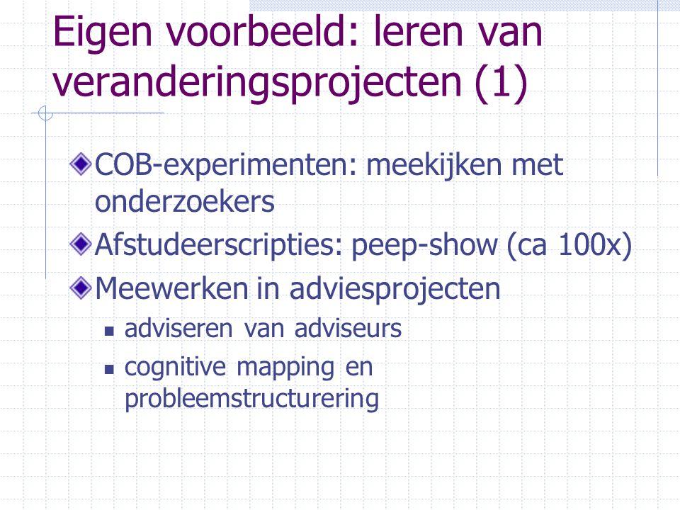 Eigen voorbeeld: leren van veranderingsprojecten (1) COB-experimenten: meekijken met onderzoekers Afstudeerscripties: peep-show (ca 100x) Meewerken in