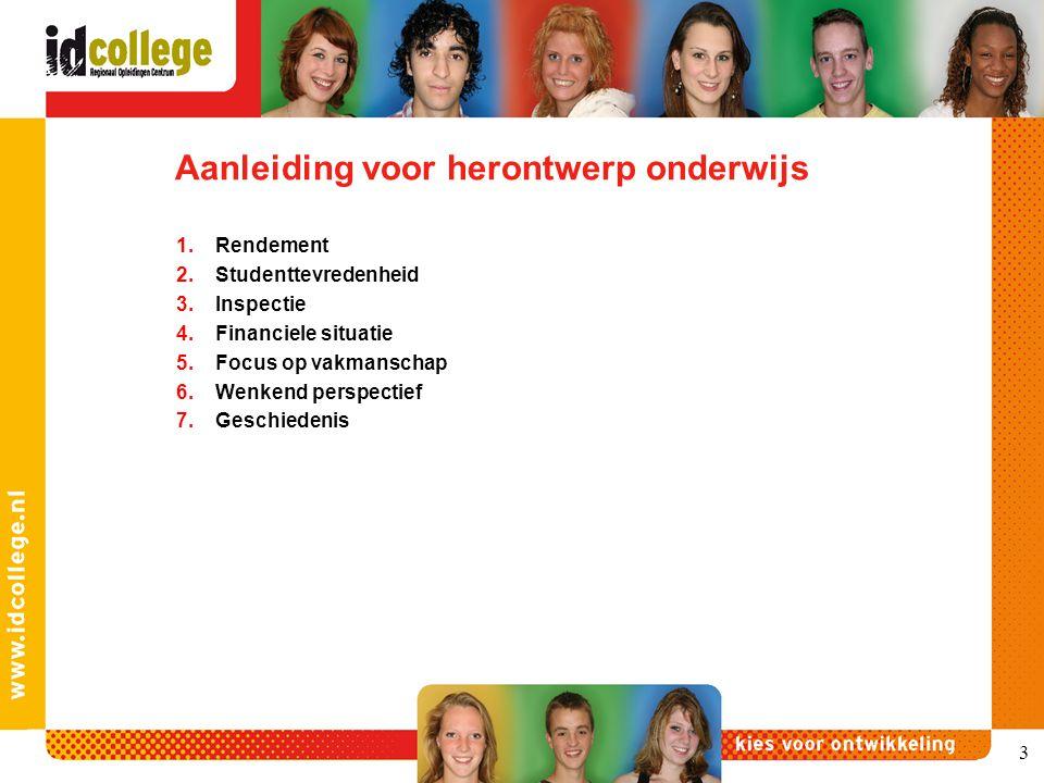 Aanleiding voor herontwerp onderwijs 1.Rendement 2.Studenttevredenheid 3.Inspectie 4.Financiele situatie 5.Focus op vakmanschap 6.Wenkend perspectief