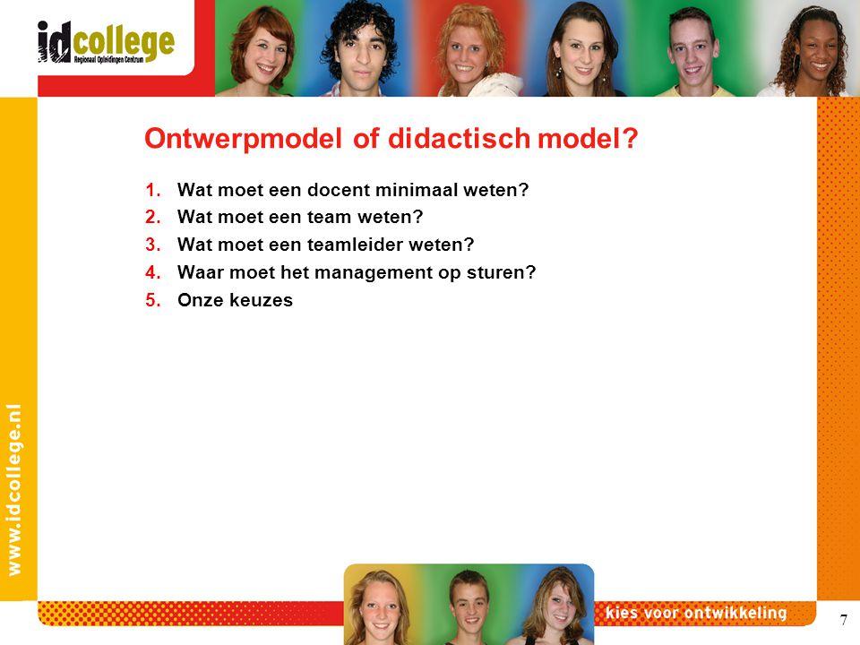 Ontwerpmodel of didactisch model? 1.Wat moet een docent minimaal weten? 2.Wat moet een team weten? 3.Wat moet een teamleider weten? 4.Waar moet het ma