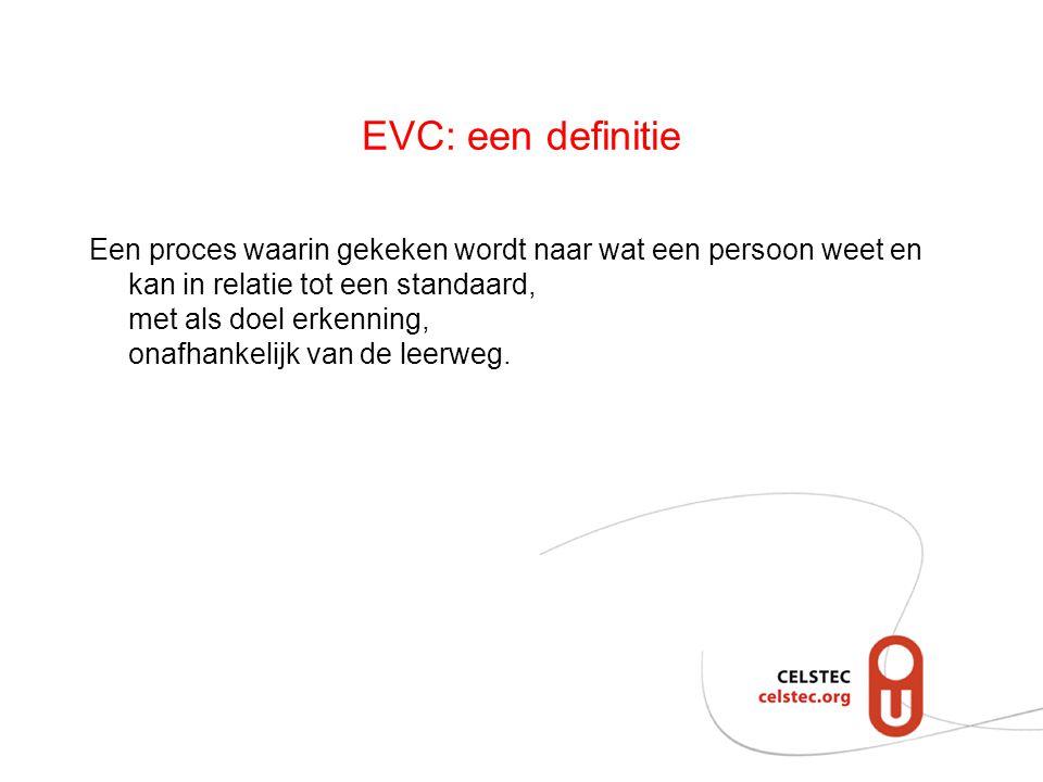 EVC: een definitie Een proces waarin gekeken wordt naar wat een persoon weet en kan in relatie tot een standaard, met als doel erkenning, onafhankelij