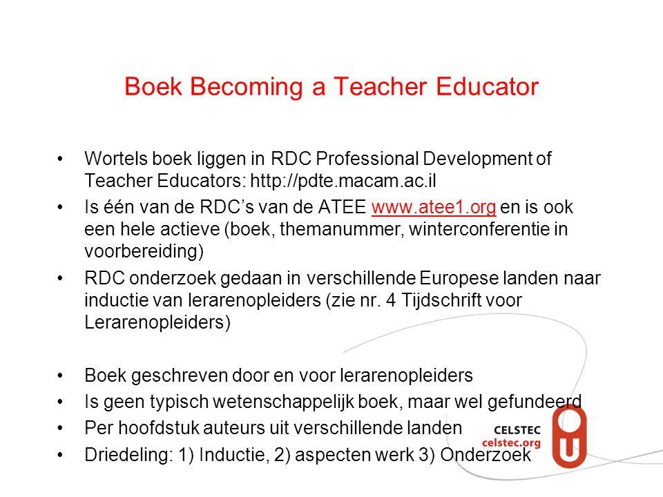 Boek Becoming a Teacher Educator Wortels boek liggen in RDC Professional Development of Teacher Educators: http://pdte.macam.ac.il Is één van de RDC's van de ATEE www.atee1.org en is ook een hele actieve (boek, themanummer, winterconferentie in voorbereiding)www.atee1.org RDC onderzoek gedaan in verschillende Europese landen naar inductie van lerarenopleiders (zie nr.