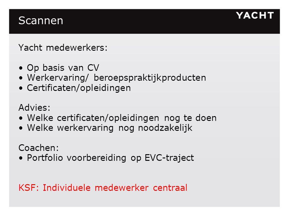 Scannen Yacht medewerkers: Op basis van CV Werkervaring/ beroepspraktijkproducten Certificaten/opleidingen Advies: Welke certificaten/opleidingen nog