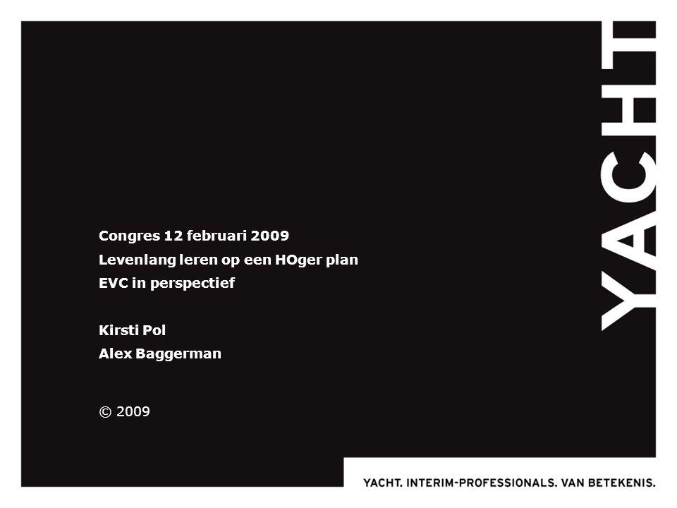 Congres 12 februari 2009 Levenlang leren op een HOger plan EVC in perspectief Kirsti Pol Alex Baggerman © 2009