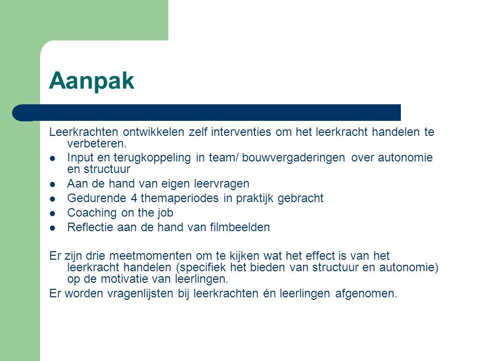 Aanpak Leerkrachten ontwikkelen zelf interventies om het leerkracht handelen te verbeteren. Input en terugkoppeling in team/ bouwvergaderingen over au