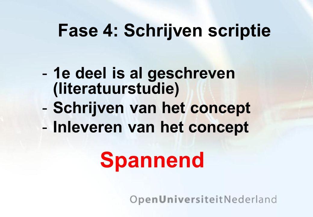 Fase 4: Schrijven scriptie 1e deel is al geschreven (literatuurstudie) Schrijven van het concept Inleveren van het concept Spannend
