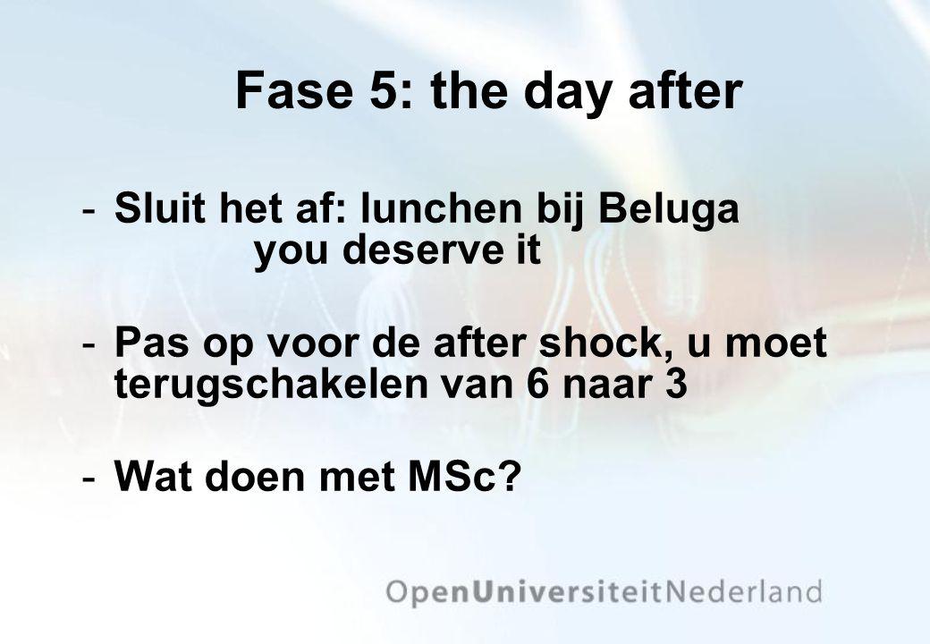 Fase 5: the day after Sluit het af: lunchen bij Beluga you deserve it Pas op voor de after shock, u moet terugschakelen van 6 naar 3 Wat doen met M