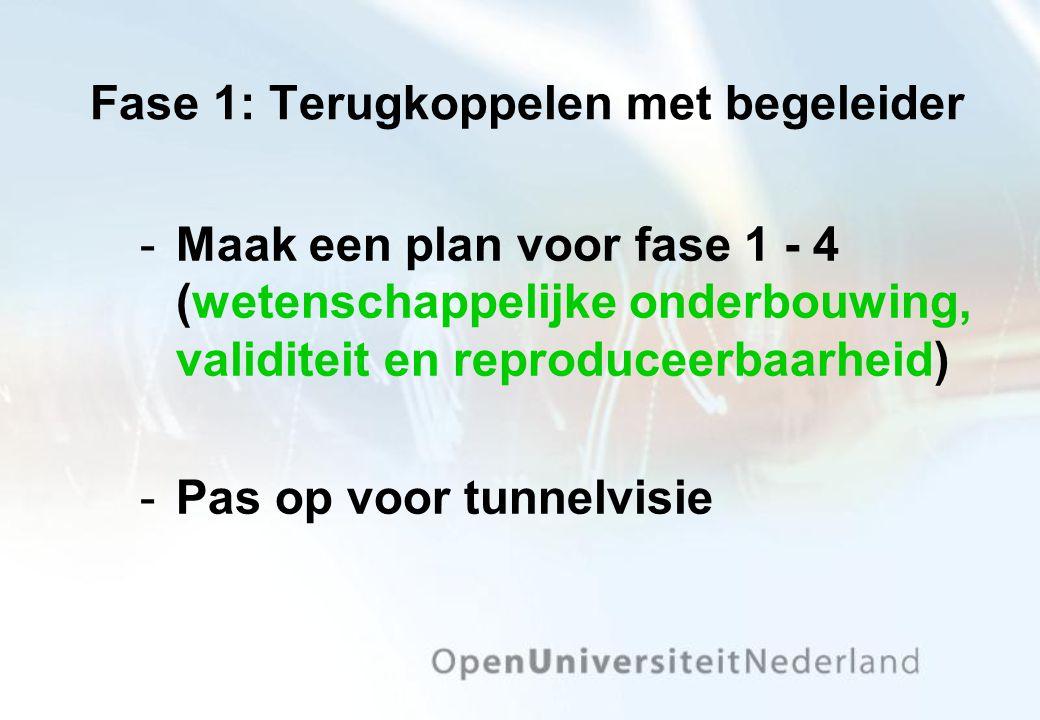 Fase 1: Terugkoppelen met begeleider Maak een plan voor fase 1 - 4 (wetenschappelijke onderbouwing, validiteit en reproduceerbaarheid) Pas op voor t