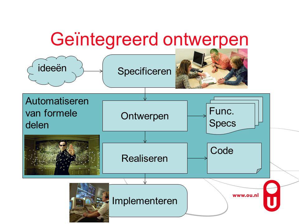 Automatiseren van formele delen Geïntegreerd ontwerpen ideeën Specificeren Implementeren Ontwerpen Func.