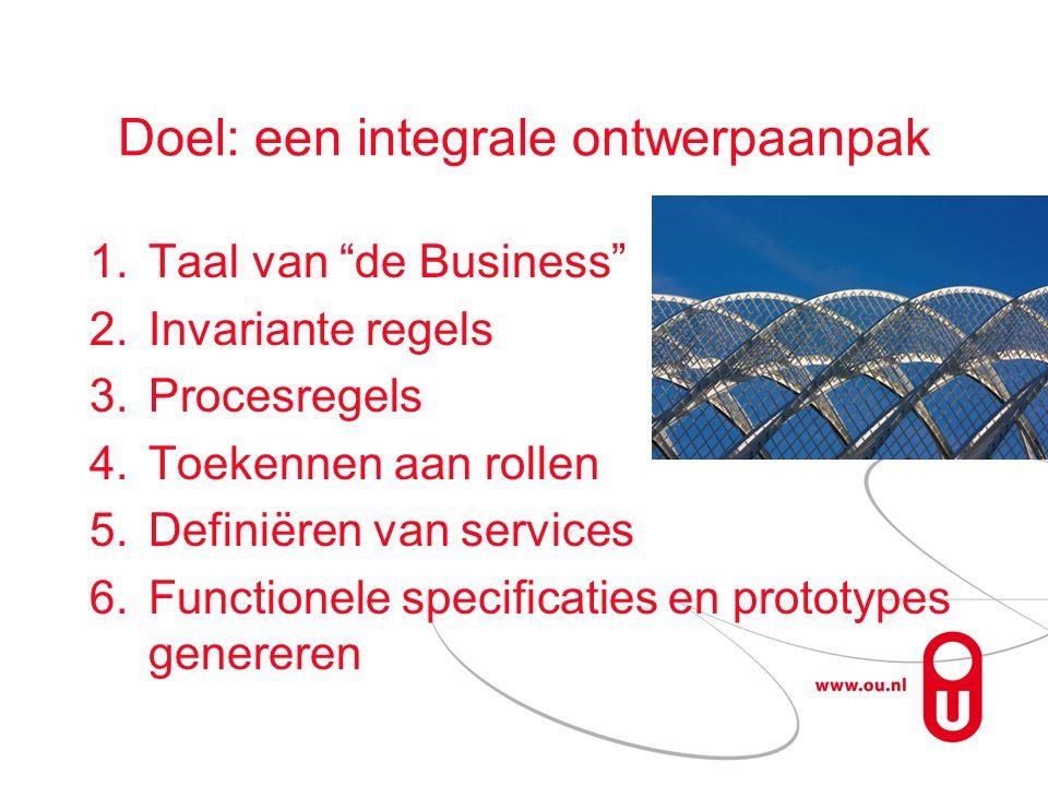 Doel: een integrale ontwerpaanpak 1.Taal van de Business 2.Invariante regels 3.Procesregels 4.Toekennen aan rollen 5.Definiëren van services 6.Functionele specificaties en prototypes genereren