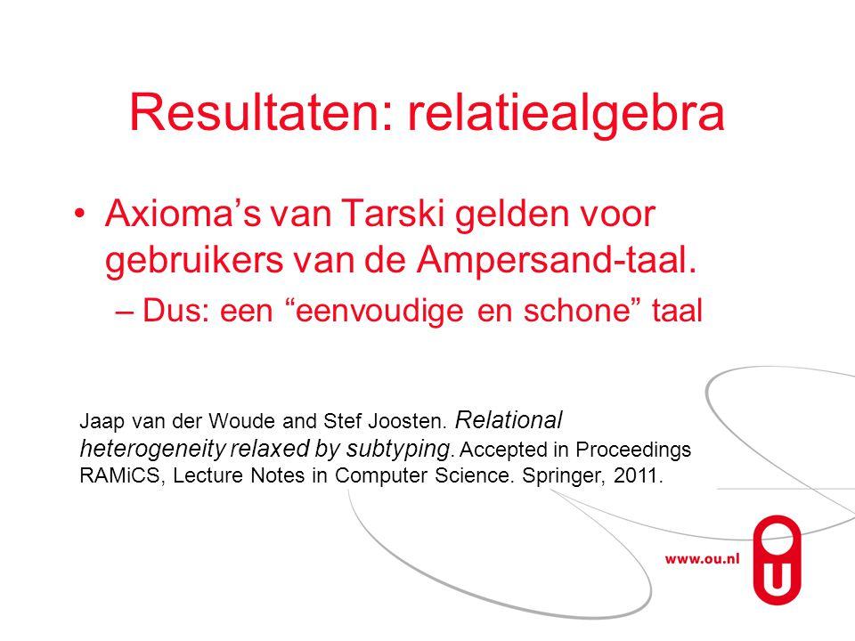 Resultaten: relatiealgebra Axioma's van Tarski gelden voor gebruikers van de Ampersand-taal.