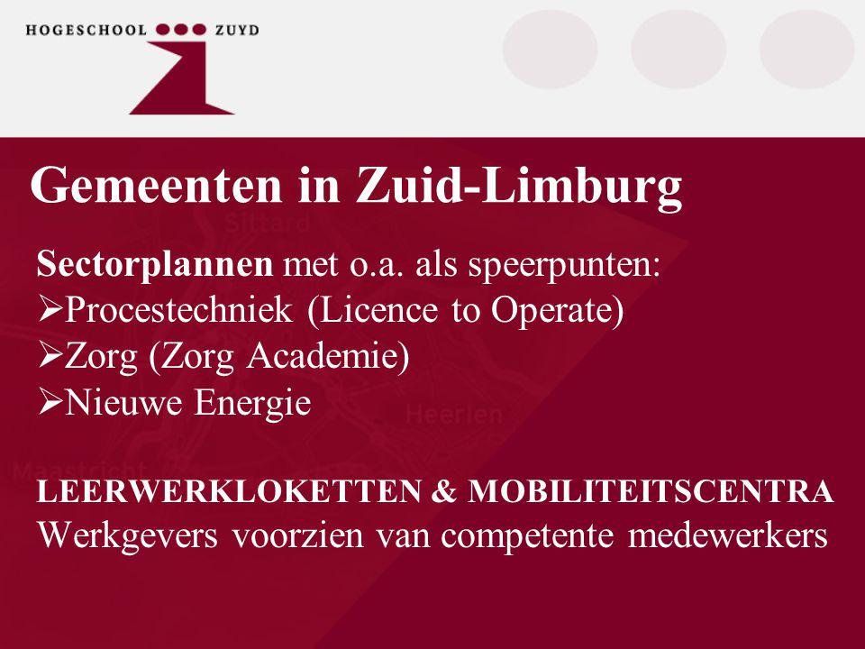 ´Nieuwe Aanpak Doelgroepen Zuyd´ Samenwerking en co-creatie met bedrijfsleven  HO rondom EVC/MWL (DaZZ)  Regionale onderwijsinstellingen (LLL Limburg)  Euregionale onderwijsinstellingen (GOLEWE)  Participatie in de leerwerkloketten  Participatie in de mobiliteitscentra