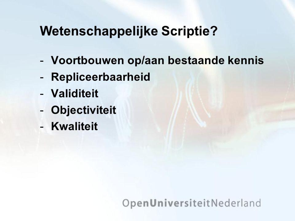 Wetenschappelijke Scriptie.