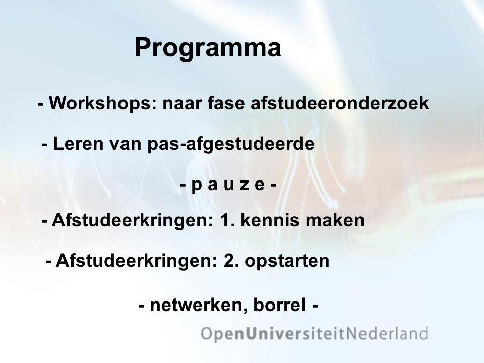 Programma - Workshops: naar fase afstudeeronderzoek - Leren van pas-afgestudeerde - Afstudeerkringen: 1.
