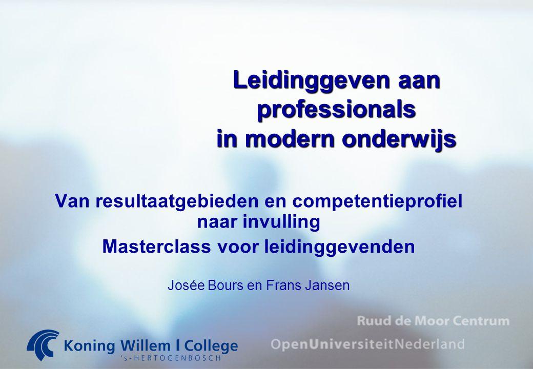 Leidinggeven aan professionals in modern onderwijs Van resultaatgebieden en competentieprofiel naar invulling Masterclass voor leidinggevenden Josée B