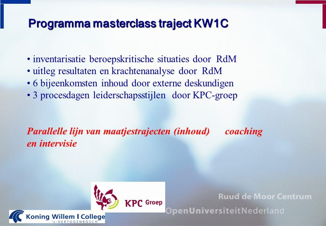 Programma masterclass traject KW1C inventarisatie beroepskritische situaties door RdM uitleg resultaten en krachtenanalyse door RdM 6 bijeenkomsten in