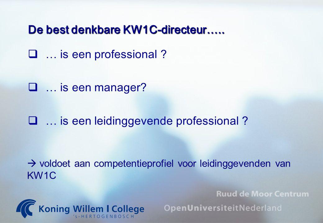 Competentieprofiel leidinggevende KW1C 1.ondernemerschap 2.individueel gericht leiderschap 3.kwaliteitsbewustzijn 4.resultaatgerichtheid 5.groepsgericht leiderschap 6.organisatiebewustzijn 7.besluitvaardigheid 8.planvaardigheid