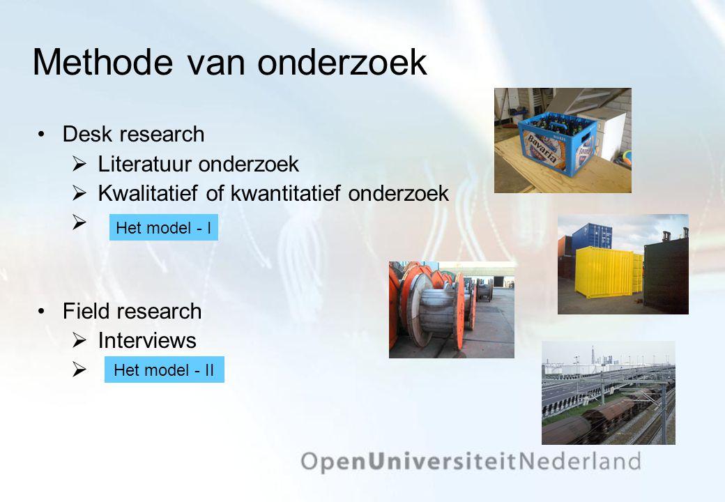 Methode van onderzoek Desk research  Literatuur onderzoek  Kwalitatief of kwantitatief onderzoek  Field research  Interviews  Het model - II Het model - I