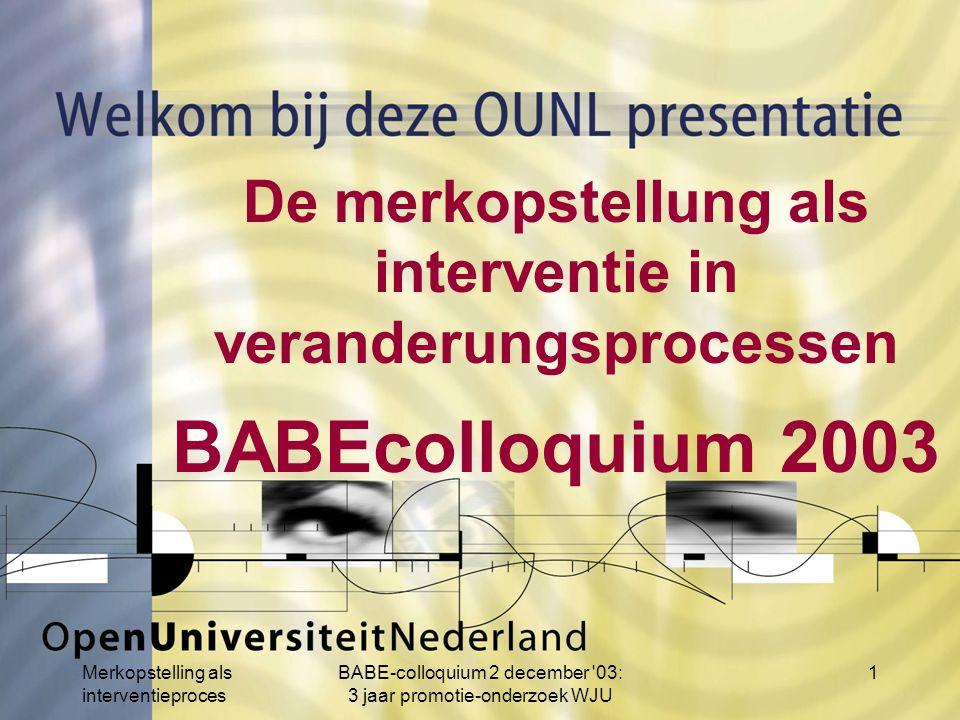 Merkopstelling als interventieproces BABE-colloquium 2 december 03: 3 jaar promotie-onderzoek WJU 1 De merkopstellung als interventie in veranderungsprocessen BABEcolloquium 2003