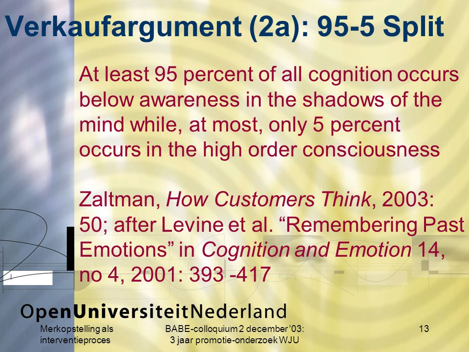 Merkopstelling als interventieproces BABE-colloquium 2 december 03: 3 jaar promotie-onderzoek WJU 13 At least 95 percent of all cognition occurs below awareness in the shadows of the mind while, at most, only 5 percent occurs in the high order consciousness Zaltman, How Customers Think, 2003: 50; after Levine et al.