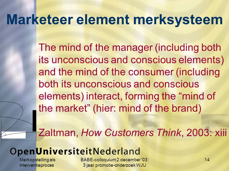 Merkopstelling als interventieproces BABE-colloquium 2 december 03: 3 jaar promotie-onderzoek WJU 14 The mind of the manager (including both its unconscious and conscious elements) and the mind of the consumer (including both its unconscious and conscious elements) interact, forming the mind of the market (hier: mind of the brand) Zaltman, How Customers Think, 2003: xiii Marketeer element merksysteem
