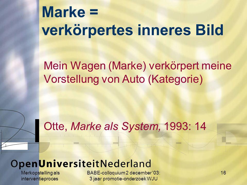 Merkopstelling als interventieproces BABE-colloquium 2 december 03: 3 jaar promotie-onderzoek WJU 16 Marke = verkörpertes inneres Bild Mein Wagen (Marke) verkörpert meine Vorstellung von Auto (Kategorie) Otte, Marke als System, 1993: 14