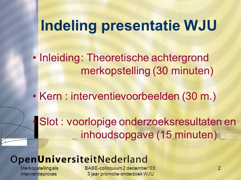 Merkopstelling als interventieproces BABE-colloquium 2 december 03: 3 jaar promotie-onderzoek WJU 23 Praktijk merkopstelling (18) 1.Voorwaarden (3) 2.Fasen merkopstelling (3) 3.Casi (10) 4.Voorlopige onderzoeksresultaten (4) 5.Issues (2) 6.Merkopstelling (1) 7.Werkwijze (3)