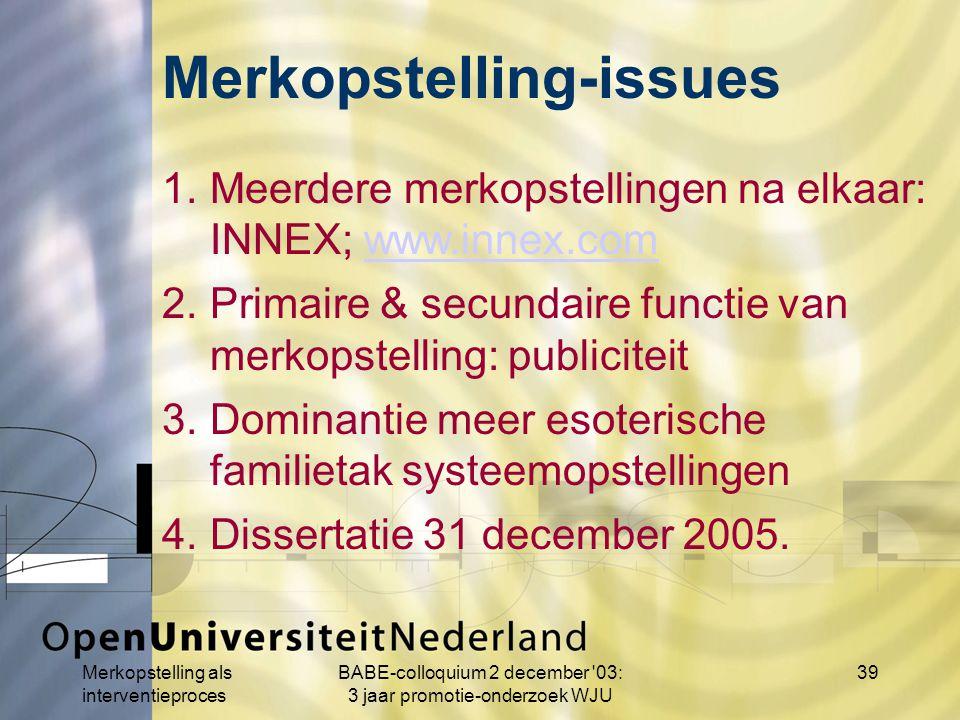 Merkopstelling als interventieproces BABE-colloquium 2 december 03: 3 jaar promotie-onderzoek WJU 39 1.