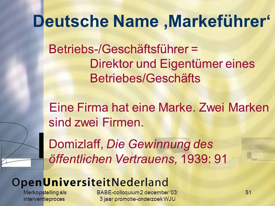 Merkopstelling als interventieproces BABE-colloquium 2 december 03: 3 jaar promotie-onderzoek WJU 51 Betriebs-/Geschäftsführer = Direktor und Eigentümer eines Betriebes/Geschäfts Eine Firma hat eine Marke.