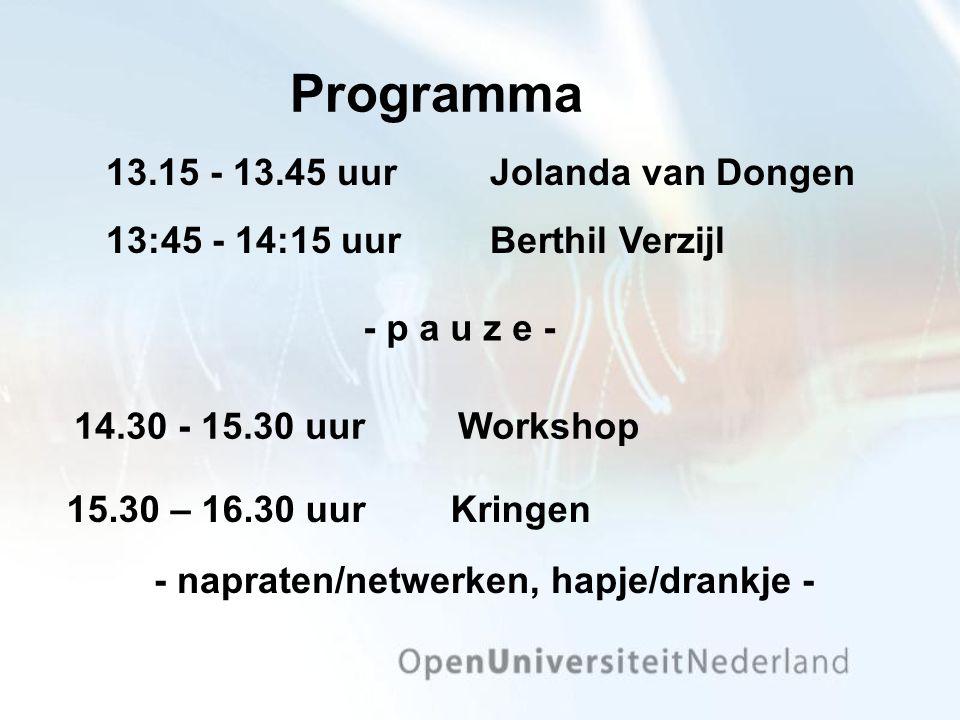 Programma 13.15 - 13.45 uurJolanda van Dongen 13:45 - 14:15 uurBerthil Verzijl 15.30 – 16.30 uurKringen - p a u z e - - napraten/netwerken, hapje/drankje - 14.30 - 15.30 uurWorkshop