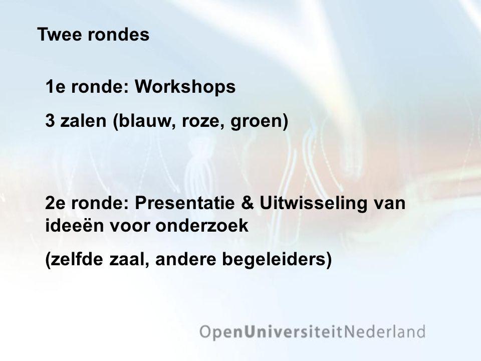 Twee rondes 2e ronde: Presentatie & Uitwisseling van ideeën voor onderzoek (zelfde zaal, andere begeleiders) 1e ronde: Workshops 3 zalen (blauw, roze, groen)