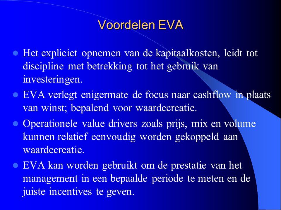 Voordelen EVA Het expliciet opnemen van de kapitaalkosten, leidt tot discipline met betrekking tot het gebruik van investeringen. EVA verlegt enigerma