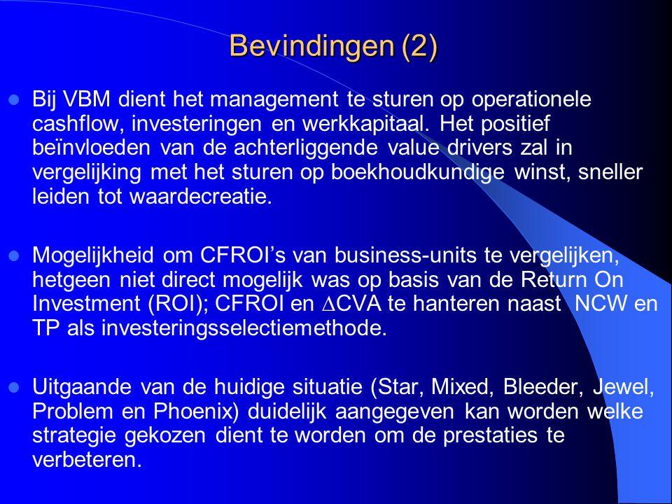 Bevindingen (2) Bij VBM dient het management te sturen op operationele cashflow, investeringen en werkkapitaal. Het positief beïnvloeden van de achter