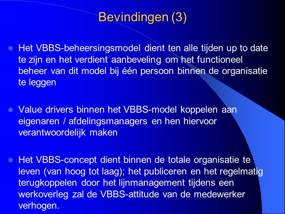 Bevindingen (3) Het VBBS-beheersingsmodel dient ten alle tijden up to date te zijn en het verdient aanbeveling om het functioneel beheer van dit model