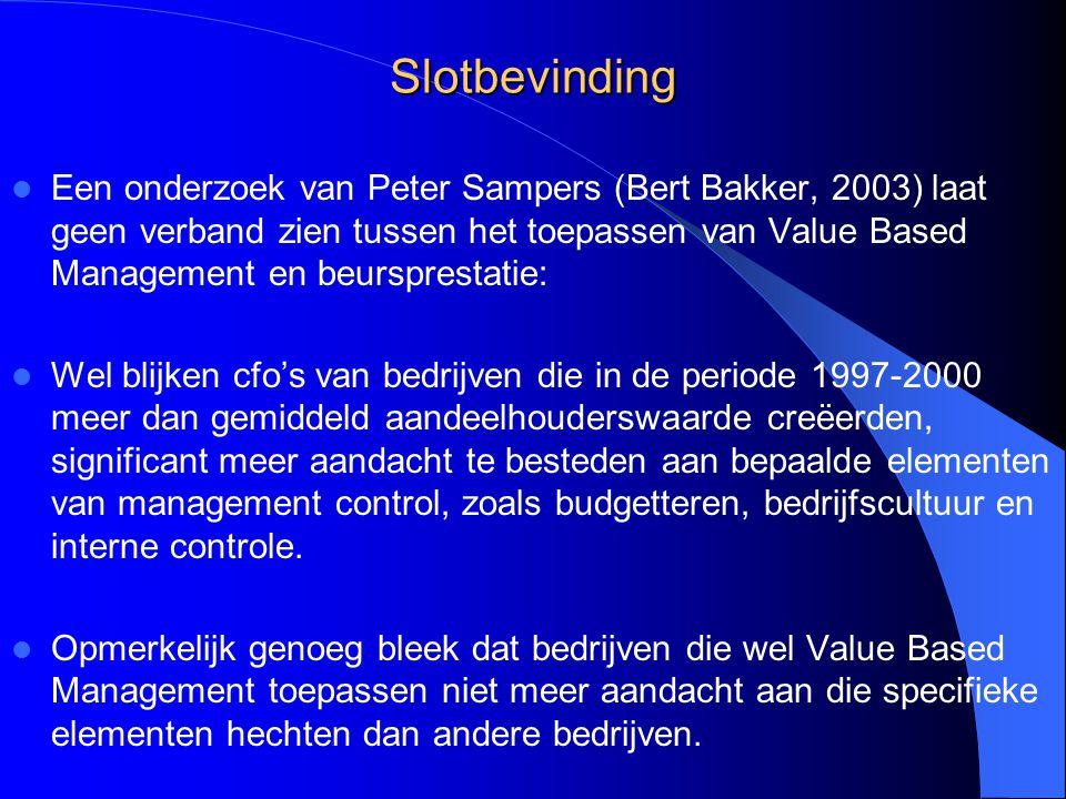 Slotbevinding Een onderzoek van Peter Sampers (Bert Bakker, 2003) laat geen verband zien tussen het toepassen van Value Based Management en beursprest