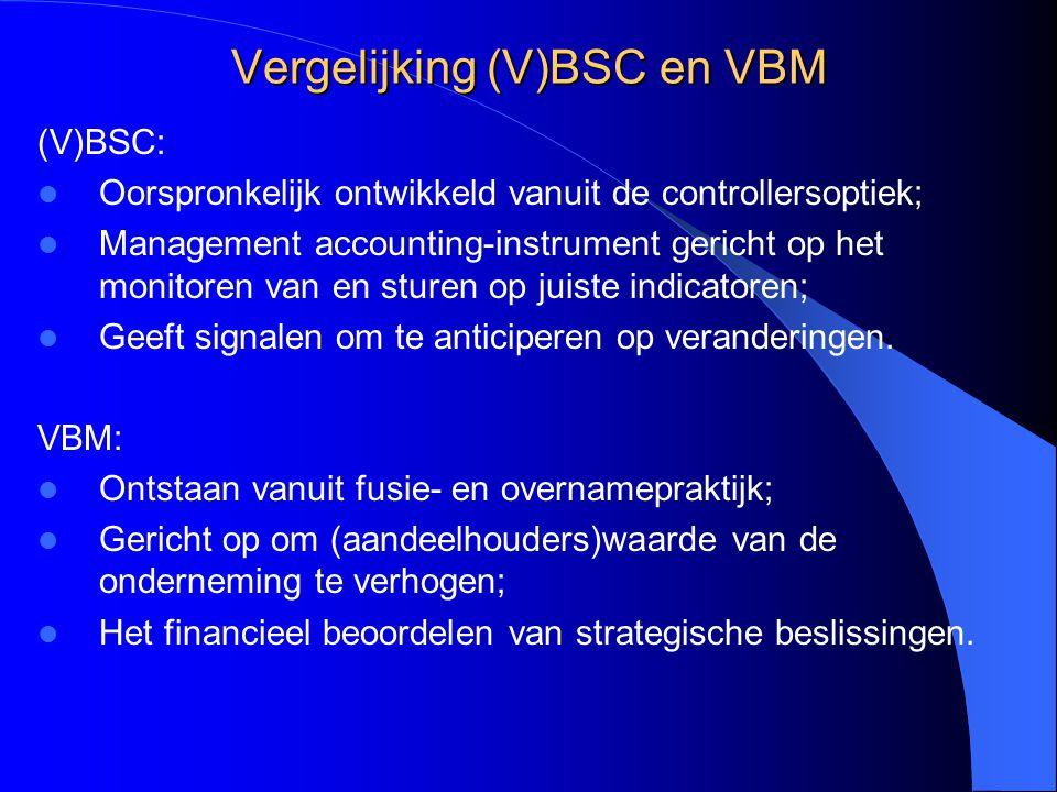 Vergelijking (V)BSC en VBM (V)BSC: Oorspronkelijk ontwikkeld vanuit de controllersoptiek; Management accounting-instrument gericht op het monitoren va
