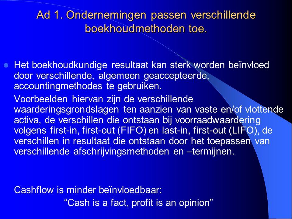 Ad 1. Ondernemingen passen verschillende boekhoudmethoden toe. Het boekhoudkundige resultaat kan sterk worden beïnvloed door verschillende, algemeen g