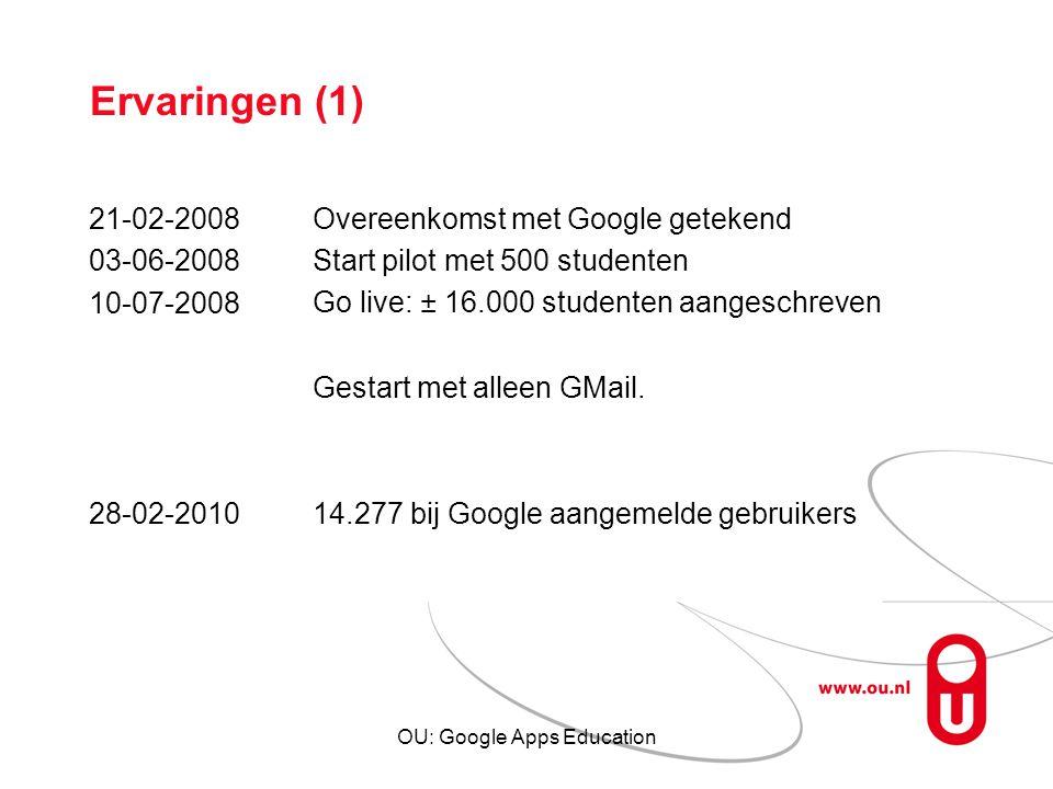 OU: Google Apps Education Ervaringen (1) 21-02-2008 03-06-2008 10-07-2008 28-02-2010 Overeenkomst met Google getekend Start pilot met 500 studenten Go