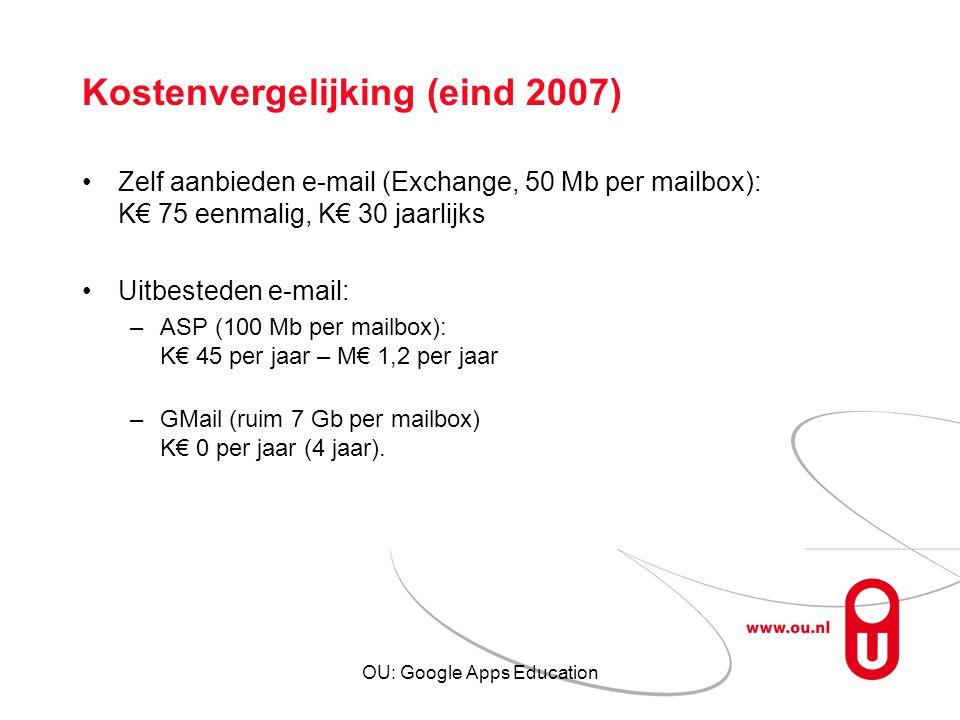 OU: Google Apps Education Kostenvergelijking (eind 2007) Zelf aanbieden e-mail (Exchange, 50 Mb per mailbox): K€ 75 eenmalig, K€ 30 jaarlijks Uitbeste