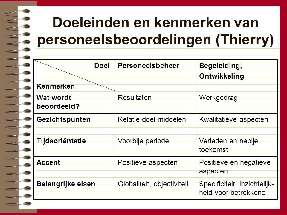 Doeleinden en kenmerken van personeelsbeoordelingen (Thierry) Doel Kenmerken PersoneelsbeheerBegeleiding, Ontwikkeling Wat wordt beoordeeld? Resultate
